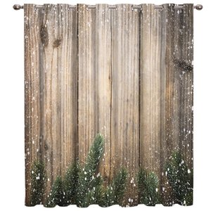 Curtain & Drapes Retro Wooden Door Merry Christmas Room Curtains Large Window Kitchen Outdoor Fabric Decor Kids Treatment