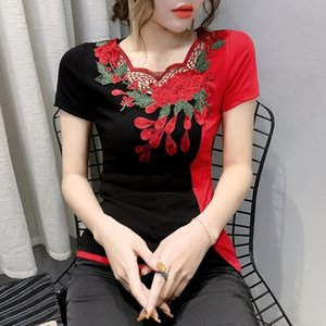 Summer Fashion Folk Clothes Sexy Hollow Out Embroidery T-shirt Women Tops Ethnic Ropa Mujer Bottoming Shirt Tees 2021 New T03207