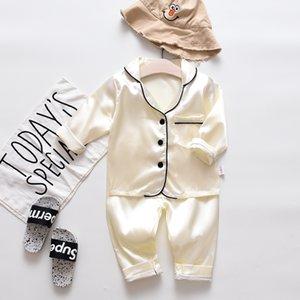 Trajes de ropa de dormir para niños pequeños para niños pequeños de manga larga tops sólidos + pantalones pijamas ropa de dormir sensación suave dulce ropa para dormir y81 193 y2