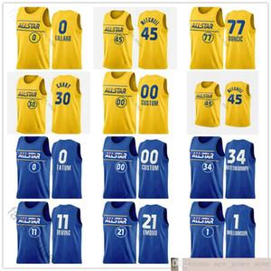 Ekran Baskılı 2021 All-Star Basketbol Lebron Stephen James Luka Köri Doncic Nikola Giannis Jokic Antetokounmpo Damian Lillard Formaları