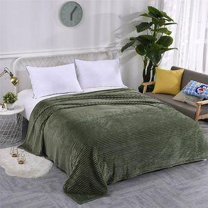 Flannel Blanket Soft Warm Coral Fleece Blanket Winter Sheet Bedspread Sofa Plaid Throw 270Gsm Light Thick Mechanical Wash Blanket