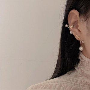 Yeni Moda Inci Saplama Küpe Mizaç Düğün Kristal Kelebek Kulak Manşet Asimetrik Küpe Klip Moda Takı