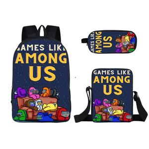 3PCS Set Among Us 3D Games Men Women Backpack Lunch Bag Hip Hop Students Teenage Boys Girls SchoolBag Travel Bag Pencil Case HWA3640
