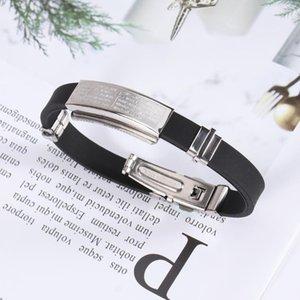 Braccialetto cristiano in acciaio inox cross scriptures braccialetto in silicone a mano catena regalo per gli uomini