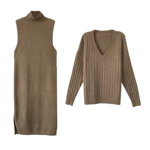 2021 Yeni Fixsys Göbek Kaplama Zayıflama Kazak Botting İki Parçalı Set Fashionautumn Ve Kış Büyük Boyutu Suit Bawky