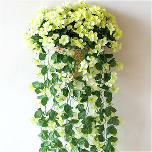 1 قطع الحرير الاصطناعي البنفسجي زهرة محاكاة الجدار شنقا اللبلاب السحلية الزهور كرمة المنزل خلفية الزفاف جدار الديكور