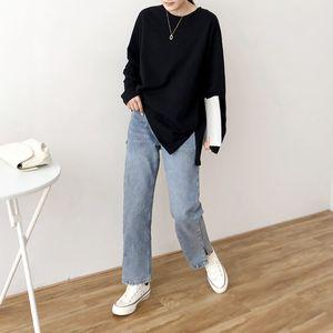Ctrllock Côté Split Collier rond Femme T-shirts Coton Couleur Solid Couleur Casual Très Casual Femme Femelle Bord de fond 2020 Tops