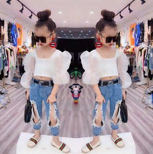 SK New INS Summer Spring Little Kids Girls Jeans Denim Trousers Streetwears Girls Fashions Casual Denim Pants Trousers Children Clothes