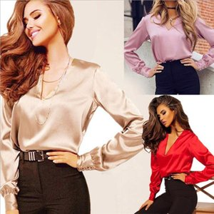Spring Summer 2021 Hot Style Sexy Fashion Satin Shirt Elegant V-Neck Office Blouse Casual Long Sleeve Button Shirt Of The Line