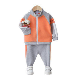 2021 New Active Kids Girls Outfits Spring Autumn Children Clothing Boys Sets Long Sleeve Hooded Tops+pants Toddler Clothes Set Orck