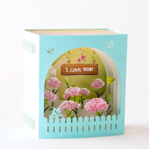 3D Pop-Up Cards Carnation Flowers Greeting Cards for Mother's Day Teacher's Day Hollow Paper Carving Gifts Postcard