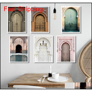 Moroccan Arch Old Door Canvas Painting Islamic Building Wall Art Poster Hassan Ii Mosque Print Muslim Modern qylzCF new_dhbest