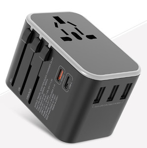 Dual Type C PD QC USB All in one charger adapter for travel with EU US UK AU plug universal travel power charger
