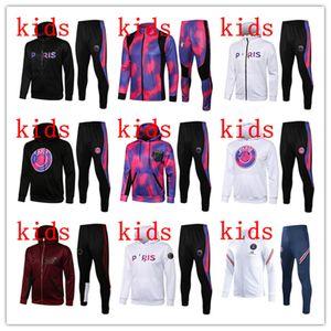 Kinder Paris Trainingsanzug 21/22 Jungen Trainingsanzug Full Zipper Jacken 2021 2022 Fußballset