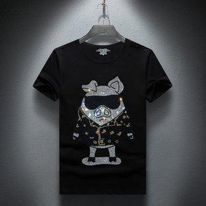 2021 New Hot Drilling Men Estate a maniche corte T-shirt Shinning Shinning T-shirt casual Rhinestone Tshirt in cotone Plus Size S-7XL Obij