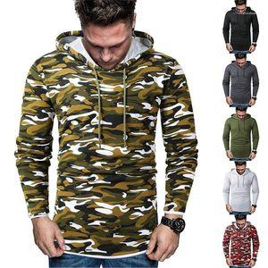 Fake Two Piece Camouflage Hooded Man Sweatshirts Patchwork Long Sleeve Spring Autumn Homme Hoodies Designer Men Hoodies