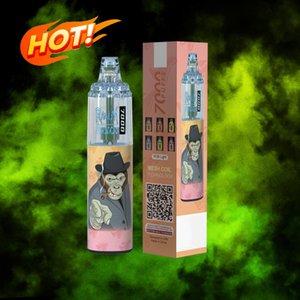 Original Disposable E Cigarette 14ml Prefilled RandM Tornado 7000 Puffs Glowing Vape Pen Pod