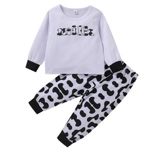 Toddler Baby Girls Boys Abbigliamento Lettera stampata Top + Milch Cow Pants Pants Outfits 2pcs Baby Outfits Set Abbigliamento casual