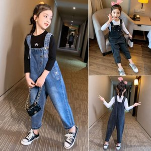 Children's jeans 2021 Korean double shoulder with foreign style T-shirt two piece set girls' suspenders suit