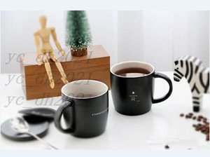 Starbucks Reserve matte black Mug 16oz Simple style 40th anniversary Memorial edition R letter ceramic coffee cup with lid spoon coaster