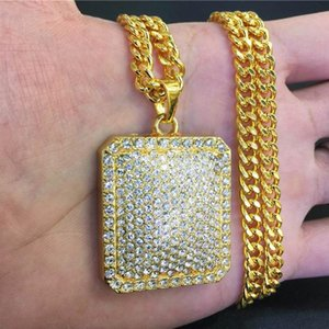 Fashion Men Hip Hop Gold Geometric Square Dog Tag Pendant Chain Bling Iced Out Full Crystal Rhinestone Rock Rap Necklace Jewelry