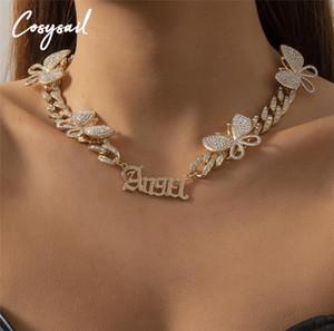 COSYSAIL Блестящий монетный режим бабочка Cokerfly Choker ожерелье милое ангельское письмо ожерелье коренастый хрустальный воротник женские ювелирные изделия подарок