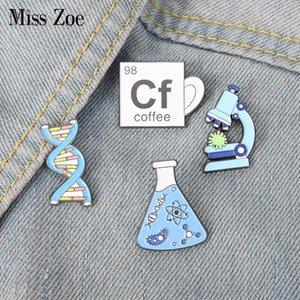 Beaker Microscope Gene Chain Enamel Pins Custom Scientific Brooch Lapel Badge Bag Cartoon Jewelry Gift for FriendsDIO CHAN CONTACT