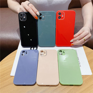 Liquid silicone frame Phone Case Tempered glass Cover For iphone 12 11 Pro Max XS MAX XR X 7 8 plus