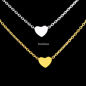 Wholesale 10piece Tiny Gold Heart Necklace Pendant Stainless Steel Women Men Wedding Jewelry Dainty Love Forever Heart Choker T190907