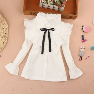 new delivery children kids baby white lace shirt 3-12year students girl clothes cotton 210225