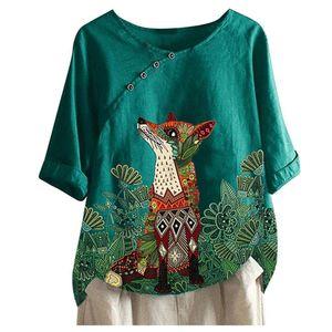 Cotton And Linen Animal Print Women Blouses Plus Size Vintage Fox Printed Short Sleeve Kimono Casual Loose Top Tunic Regular Woman Blusa