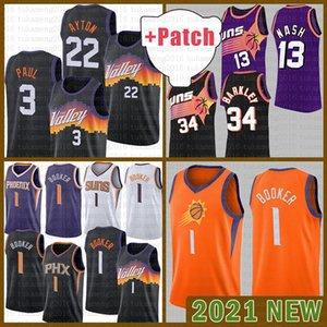 Suns Basketball Jersey Devin 1 Booker 2021 New Chris 3 Paul Mens Deandre 22 Ayton Malha Retro Steve 13 Nash Charles 34 Barkley Barato Ouro Brown