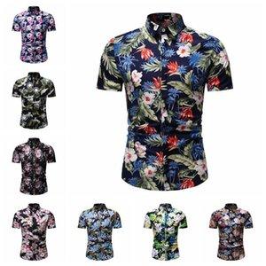 Nueva personalidad personalidad hombre desgaste hombre diseño de lujo camisas casuales cultivate uno mismo moda ocio tiempo camisa de la flor de la manga corta