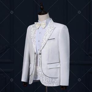 male wedding groom prom coats long jacket white tuexdo Trench dancer singer performance show Christmas magic Outdoors Slim wear