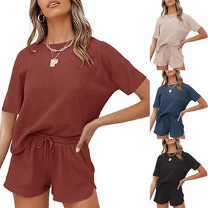 2021 spring and summer short sleeve two piece threaded sport crew neck casual home wear solid female