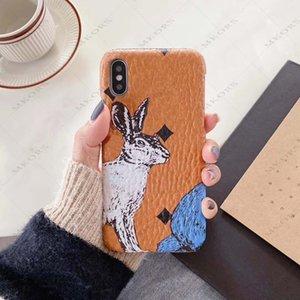 M diseño de teléfono de conejo de diseño para iPhone 12 12pro 11 11pro x XS MAX XR 8 7 6 6S PLUS CUBIERTE DE CUBIERTA DE CUERO DE CUERCO PARA IPONESX 7PLUS 8PLUS