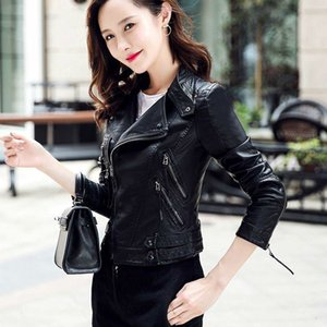 2021 New Moto Biker Jacket Women Turn Down Collar Short Leather Coats Spring Autumn Ladies Pu Outwear Clothing Sfmr