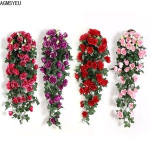 Decorative Flowers & Wreaths Artificial Flower Rattan Vine Wall Hanging Rose Home Decor Garden Decoration Fairy