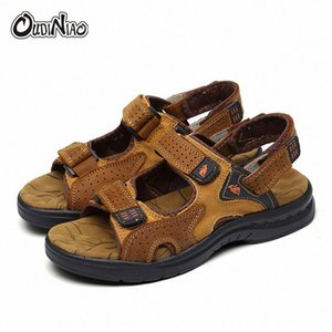OUDINIAO Mens Shoes Genuine Cow Leather Men Sandals Summer Slipper Men Shoes Beach Breathable Buckle Gladiator Slip Sandals f20a#