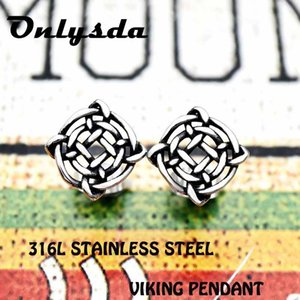 Viking Norse Studs Pendientes Viking Jewelry Vegvisir Glass Cabochon Amulet Celtics Odin Symbol Studs Pendiente ES013