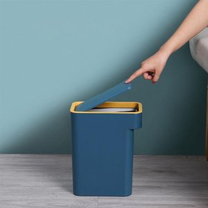 Waste Bins 1PC Press Type Trash Can Household Flip Cover Garbage With (Blue)
