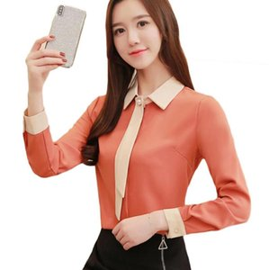 Long Sleeve Fashion Ribbon Chiffon Blouse Women Shirts Korean Office Women Tops Casual Plus Size Blouses Blusas Mujer