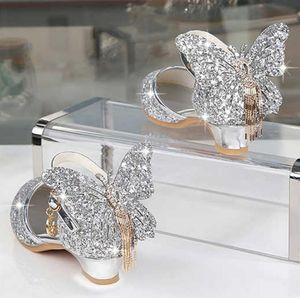 Принцесса Детские кожаные туфли для девочек Блеск Бабочка Узел Узел Платье Партия Детские Детские Каблуки Каблуки Обувь для детей Розовый Серебро Y200619
