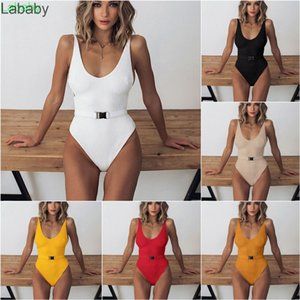 2021 Women's One Piece Swimsuit Solid Color Special Cloth Belt Buckle Integrated Bikini Ladies New Fashion Outfits