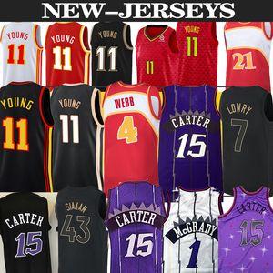 Nba Toronto Raptors Jersey basketball Atlanta Hawks 15 Vince Carter 1 Tracy McGrady 11 Trae Young 4 Webb 21 Dominique Wilkins Basketball jerseys top