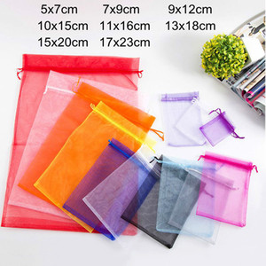 50pcs Organza Bags 7x9 9x12 10x15 13x18 15x20 17x23cm Jewelry Packaging Pouches Wedding Birthday Party Candy Gift Boxes Bags