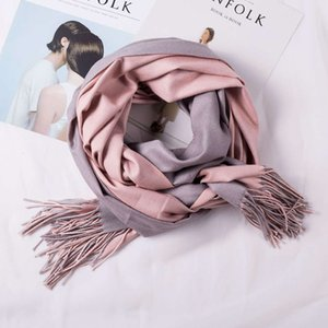 Autumn and winter 2020 new high-end double-sided pure color cashmere like scarf women's shawl two-color Korean tassel