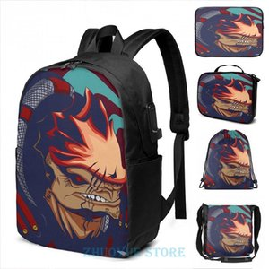 Backpack Funny Graphic Print Urdnot Wrex - Mass Effect USB Charge Men School Bags Women Cosmetic Bag Travel Laptop