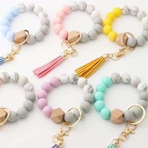 Wooden Bead Bracelets Keychain with Tassel Lady Portable House Car Keys Ring Holder Colorful Silicone Fashion Keychains Kimter-Q141FZ