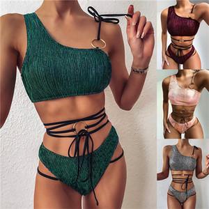 Womens Bikini Bandage Tankinis Swimwear Summer Solid Color Sexy Women Beach Swimming Sports Swimsuits